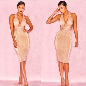 House of CB   Isolde Rose Gold Pleated Dress